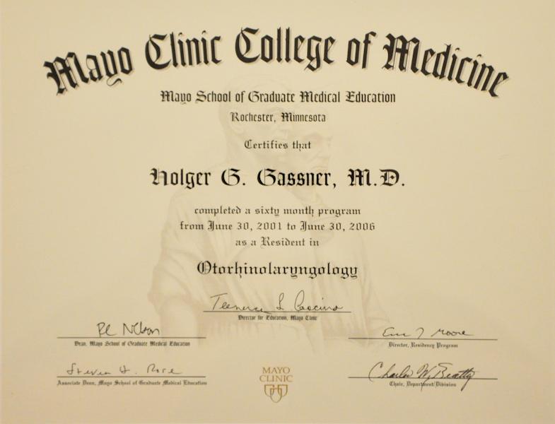 Urkunde Mayo Clinic College of Medicine Prof. Gassner