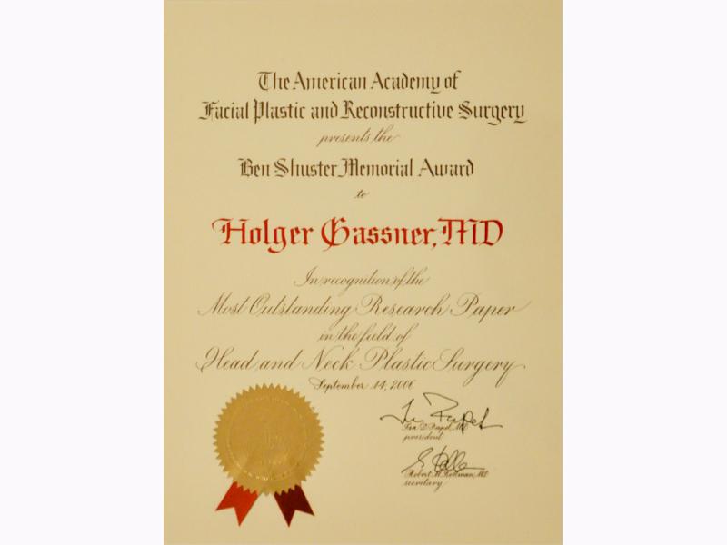 Ben Shuster Momorial Award Prof. Gassner