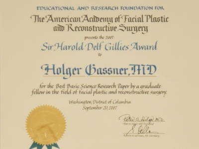 "Certification from ""The American Academy of Facial Plastic and Reconstructive Surgery"" Prof. Gassner"