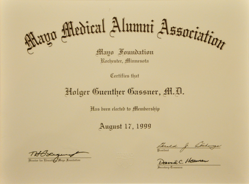 Certification Mayo Medical Alumni Association (1999)