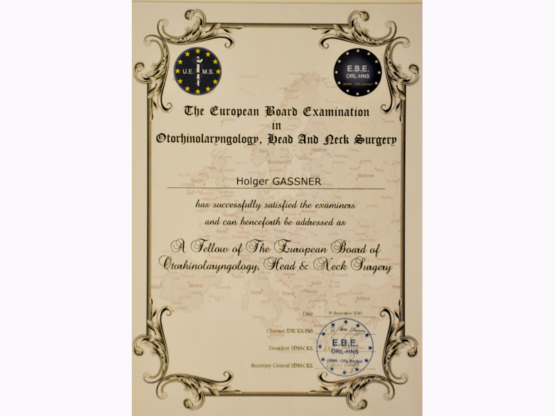 "Certification Prof. Gassner ""European board examination in Otorhinolaryngology"""